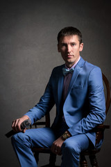 man in suit, business portrait, posing at Studio