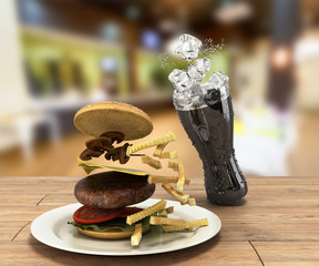 hamburger and a glass of cola with ice on color wooden table Fre