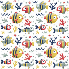 Marine cute seamless pattern with fishes, algae, starfish, coral, seabed, bubble