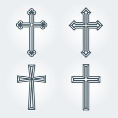 Religious Christian crosses crucifix set design. Vector illustration.