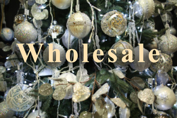 Wholesale concept. Decorated Christmas tree, closeup