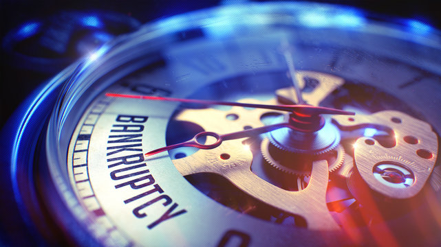 Bankruptcy - Wording on Pocket Watch. 3D.