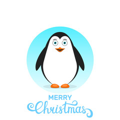 Merry Christmas. Penguin cartoon character and modern lettering Merry Christmas