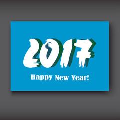 Happy New 2017 Year, modern design on blue background, year 2017 in brush stroke pattern vector illustration