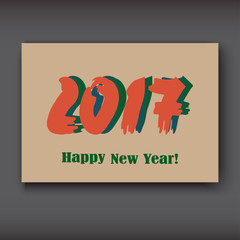 Happy New 2017 Year, modern design on brown background, year 2017 in brush stroke pattern vector illustration
