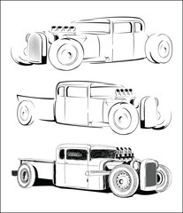 vintage hot rod car sketch