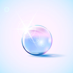 Shiny colored glass bowl with light effect, bubble, vector illustration