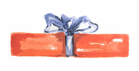 Isolated watercolor present. Colorful box with bows and ribbons for holidays as Christmas, New Year and Birthday.