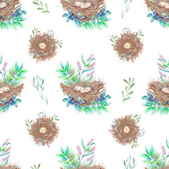 Seamless pattern with watercolor bird nests with eggs, in plants and berries, hand drawn isolated on a white background