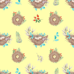 Seamless pattern with watercolor bird nests with eggs, in plants and berries, hand drawn isolated on a yellow background