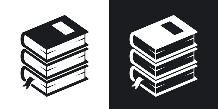 Vector stack of books icon. Two-tone version on black and white background
