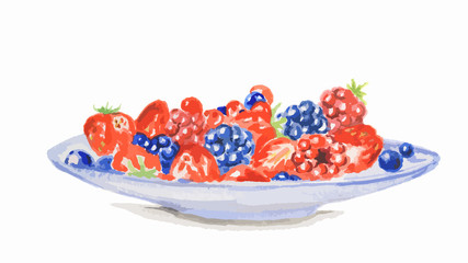 Watercolor berries on a plate. Isolated plate with fresh and sweet berries on white background.