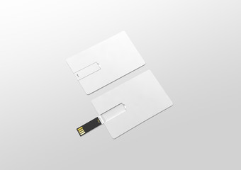 Blank white plastic wafer usb card mockup lying, opened and closed, clipping path, 3d rendering. Visiting flash drive namecard mock up. Call-card disk souvenir presentation. Flat credit stick adapter.