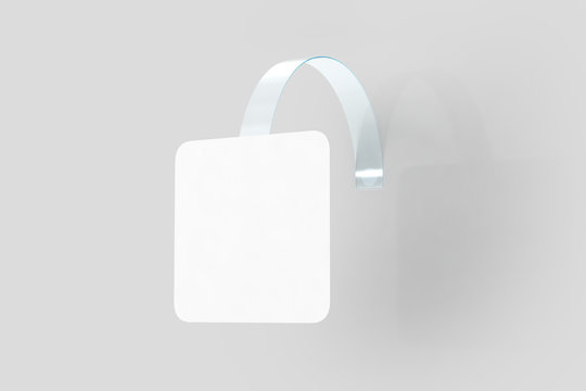 Blank white wobbler hang on wall mock up, clipping path, 3d rendering. Space rectangular paper mockup on plastic transparent strip. Clear price sticker. Pricing tag label template isolated.
