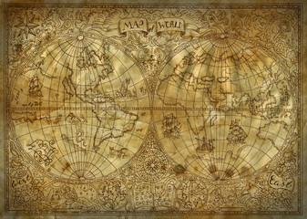 Vintage illustration of old atlas map of world on ancient paper background