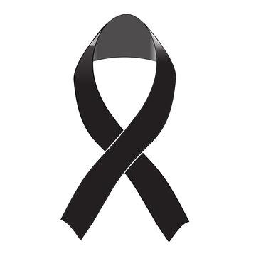 Black awareness ribbon on white background. Mourning and melanom