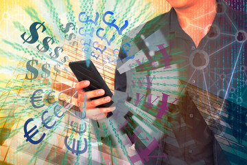 Digital or Coded money concept. currencies signs with double exposure of business man using smart phone and abstract office building background.