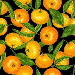 Seamless pattern with mandarins. Tropical fruits and leaves