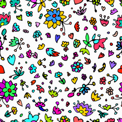 Vector floral pattern in doodle style with flowers, leaves, hearts. Cute, funny, floral vector background.