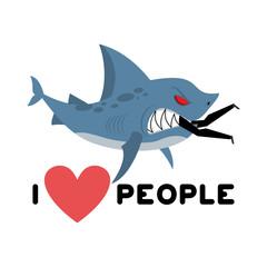I love people. Shark eats man. Wild sea predator and male. I lik