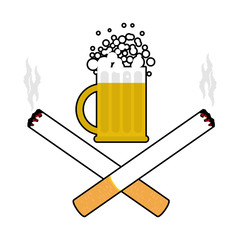 Beer and cigarettes. Alcohol and smoking sign. Logo for harm hea