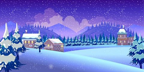 Canvas Prints Violet Winter Nature landscape