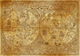 Vintage illustration of ancient atlas map of world on old paper