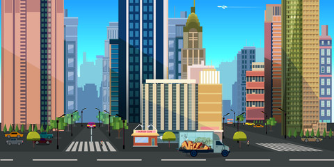 Seamless cartoon city landscape, vector unending background with road, buildings and sky layers.