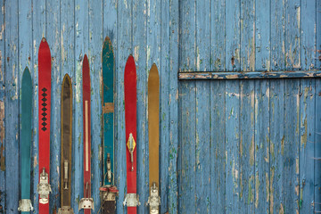 Garden Poster Winter sports Collection of vintage wooden weathered ski's