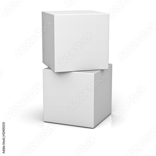 fa5dfbeb5f9 Blank boxes isolated on white background with reflection and shadow ...