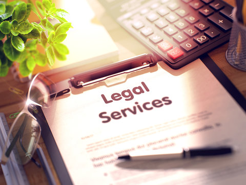 Legal Services on Clipboard. 3D.