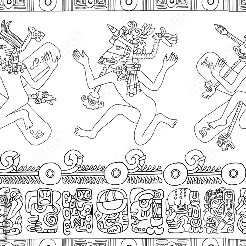 Seamless Background With Mayan People And Indian Mystic Symbols