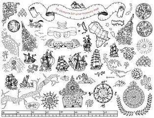 Set with hand drawn elements for treasure hunt and pirate map on white