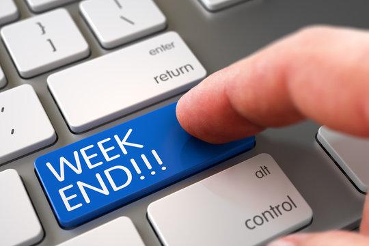 Week End - Keyboard Key Concept. 3D.