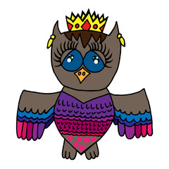 Colorful cute owl in crone