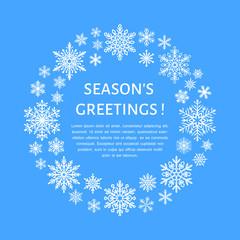 Cute snowflake poster, banner. Season's greetings. Flat snow icons, snowfall. Nice snowflakes for christmas banner, cards. New year snowflake. Merry Christmas wreath