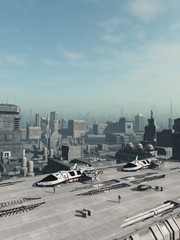 Future City Space Ship Shuttle Park - science fiction illustration