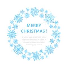 Cute snowflake poster, banner. Season greetings. Flat snow icons, snowfall. Nice snowflakes for christmas banner, cards. New year snowflake. Merry Christmas wreath