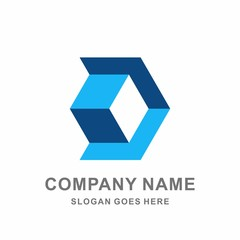 Monogram Letter D Geometric Hexagon Cube Arrow Vector Logo Design Template