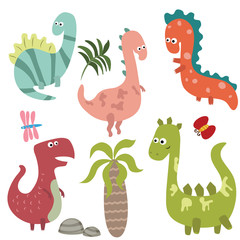 Set funny dinosaurs