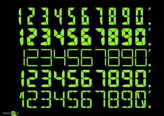 Set of Calculator digital numbers