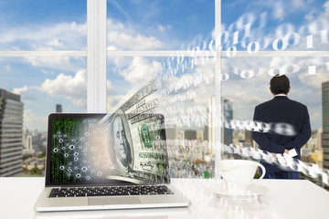 FINTECH concept background. Laptop computer with US dollar and digital code abstract on its screen against business man looking the city  with digital code outside building.