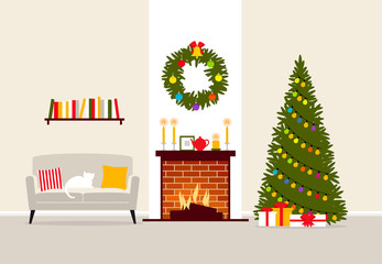 Vector illustration of the christmas living room