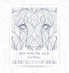 Flyer template with patterned head of the lion