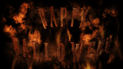 Happy Halloween Text With Smoke And Fire 3D Rendering