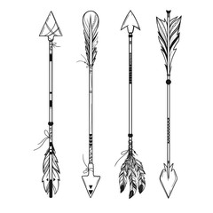 set of boho style arrows with feathers and ornaments isolated on white, vector hand drawn illustration