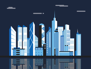 City downtown landscape. Skyscrapers in the town. Flat vector illustration.