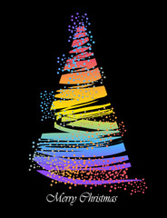Abstract Christmas tree isolated on black background