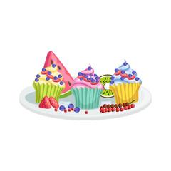 Cupcakes European Cuisine Food Menu Item Detailed Illustration