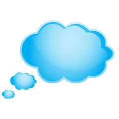 Image of three bright blue clouds on a white background